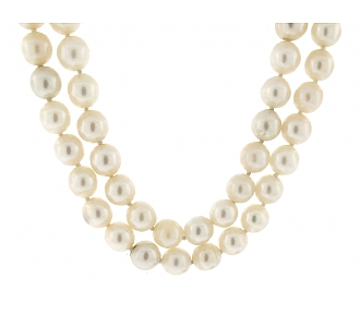 David Webb Pearl Necklace in Platinum