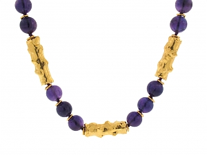 Jean Mahie Amethyst Bead Necklace in 22K Gold