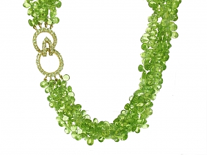 Multi-strand Peridot Torsade Necklace in 18K