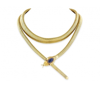 Retro Snake Tubogas Necklace with Sapphire Head in 18K