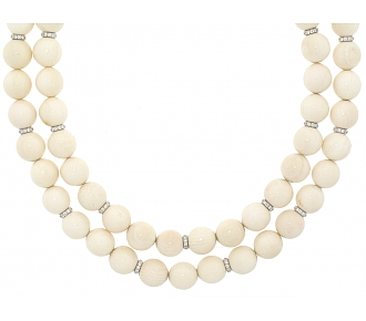 Bone and Diamond Bead Necklace in 18K