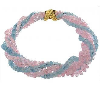 Verdura Aquamarine and Rose Quartz Bead Necklace in 18K