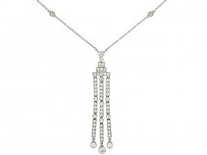Tiffany & Co. 'Jazz' Triple-bar Diamond Drop Pendant in Platinum
