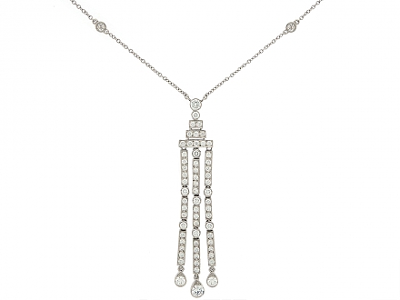 Tiffany & Co. 'Jazz' Triple-bar Diamond Drop Pendant in Platinum