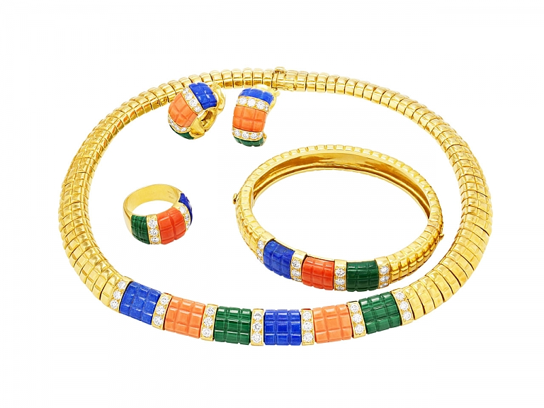 Video of Van Cleef & Arpels Suite of Coral, Lapis, Malachite and Diamond and 18K Jewelry