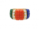 Van Cleef & Arpels Suite of Coral, Lapis, Malachite and Diamond and 18K Jewelry