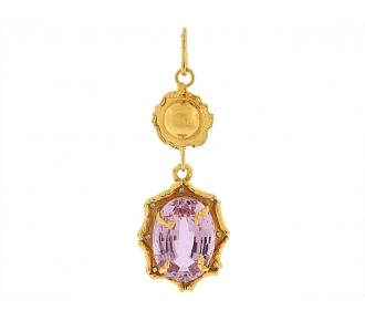 Kunzite and Diamond Pendant in 22k