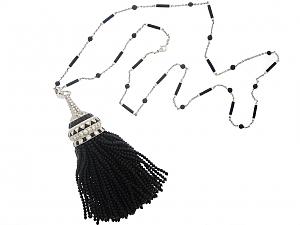 Black Onyx and White Enamel Diamond Tassel Necklace in 18K