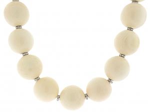White Bone and Diamond Necklace in 18K