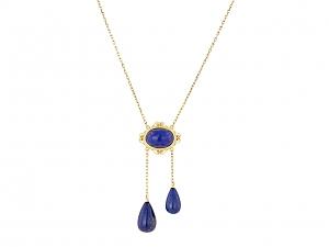 Vintage Lapis Lavalier Necklace in 14K