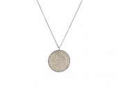 Coin and Diamond Pendant in 14K