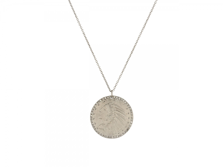 Video of Coin and Diamond Pendant in 14K