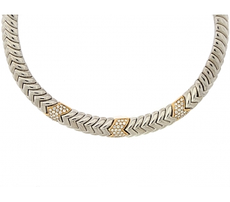 Rare Bulgari 'Spiga' Diamond Necklace in 18K
