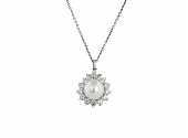 Cultured Pearl and Diamond Pendant in Platinum