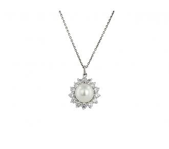 Cultured Pearl and Diamond Pendant in Platinum