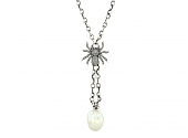 Irit Design Pearl and Diamond Necklace in Sterling Silver
