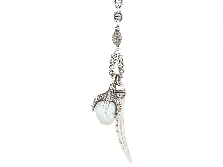 Video of Irit Design Pearl and Diamond Necklace in Sterling Silver