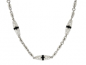 Pepe Creations Bead Diamond Necklace in Platinum and 18K