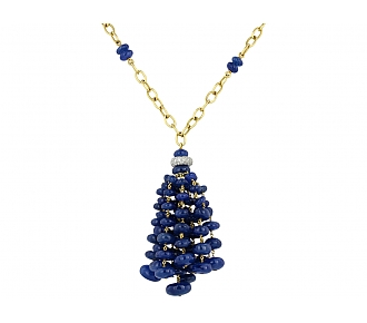 Sapphire and Diamond Tassel Necklace in 18K
