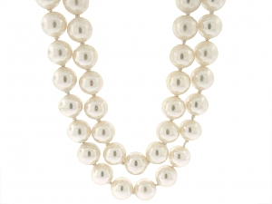 David Webb Double-Strand Simulated Pearl Necklace in 18K