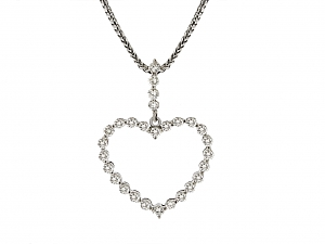 Diamond Heart Pendant Necklace in 18K