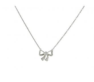 Poiray Diamond Bow Pendant in 18K White Gold