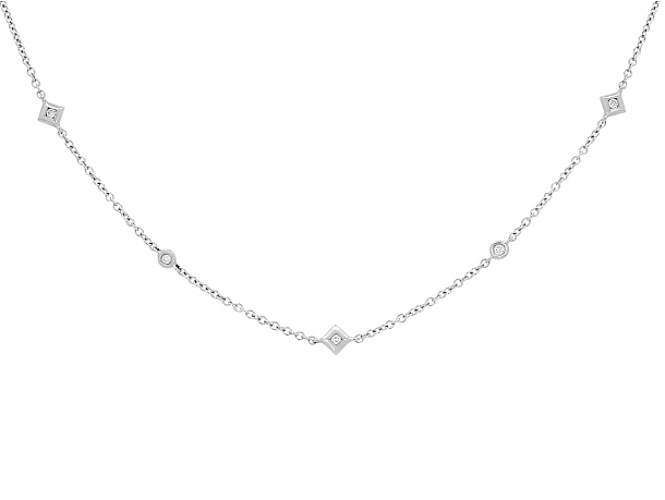 Diamond Station Necklace in 18K White Gold