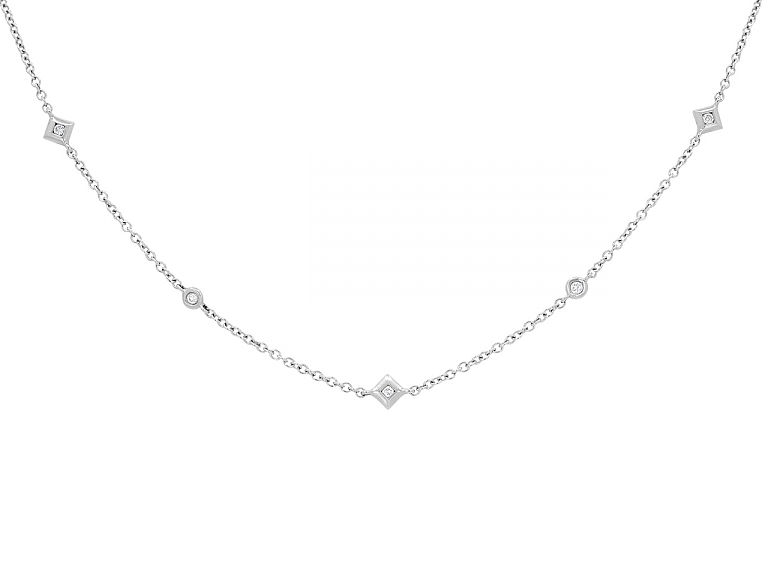 Video of Diamond Station Necklace in 18K White Gold