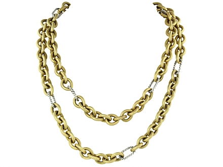 David Yurman Chain Necklace in 18k Gold and Sterling Silver