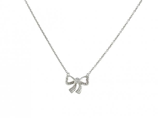 Poiray Diamond Bow Necklace in 18K