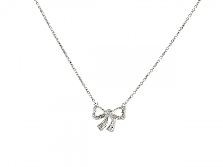 Video of Poiray Diamond Bow Necklace in 18K