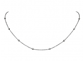 Diamond Station Necklace in 18K blackened Gold