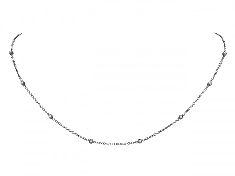 Video of Diamond Station Necklace in 18K blackened Gold