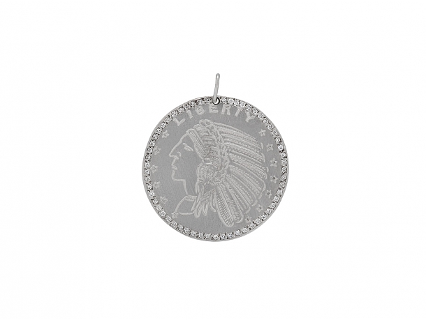 Coin and Diamond Pendant in 14K White Gold