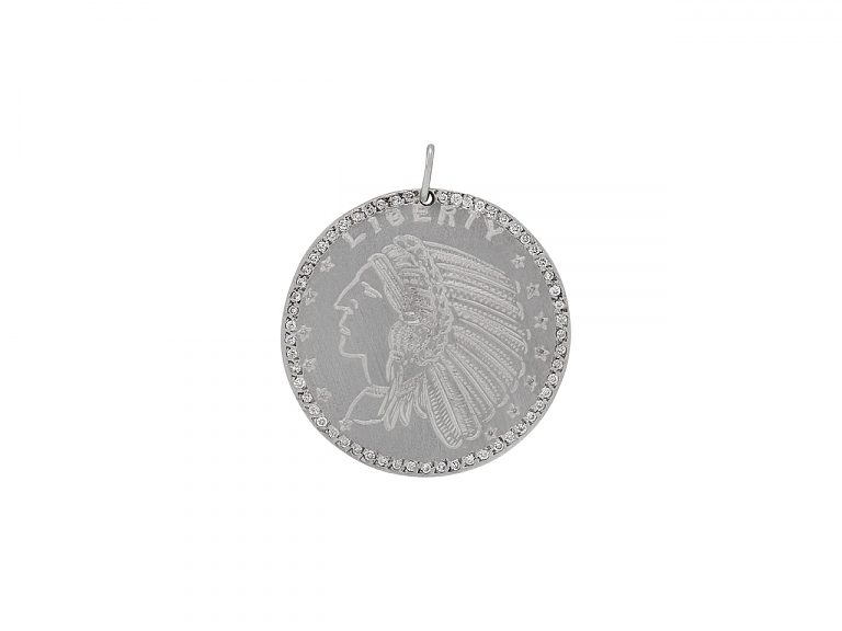 Video of Coin and Diamond Pendant in 14K White Gold