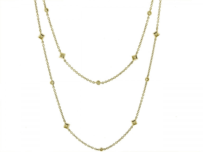 Video of Diamond Station Necklace in 18K Gold