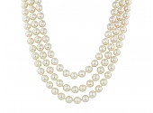 Three Row Pearl Necklace in Diamond and 18K White Gold