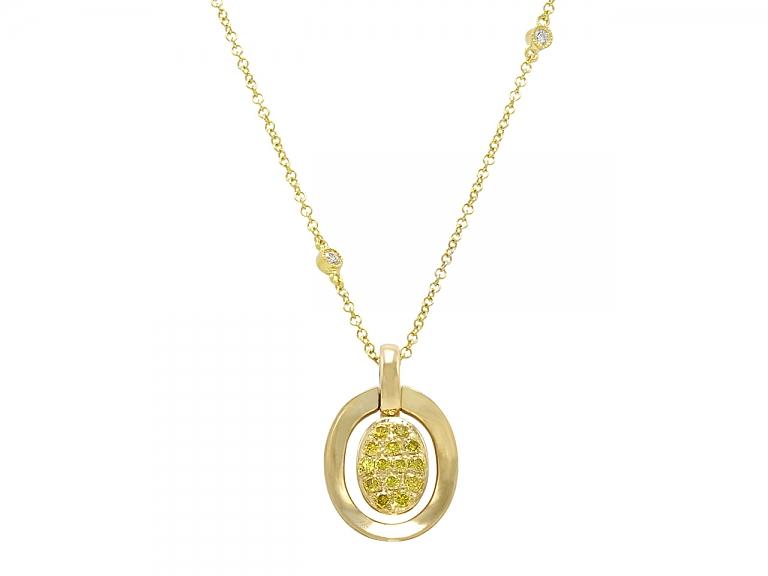 Video of Alan Friedman Yellow Diamond Pendant Necklace in 18K Gold