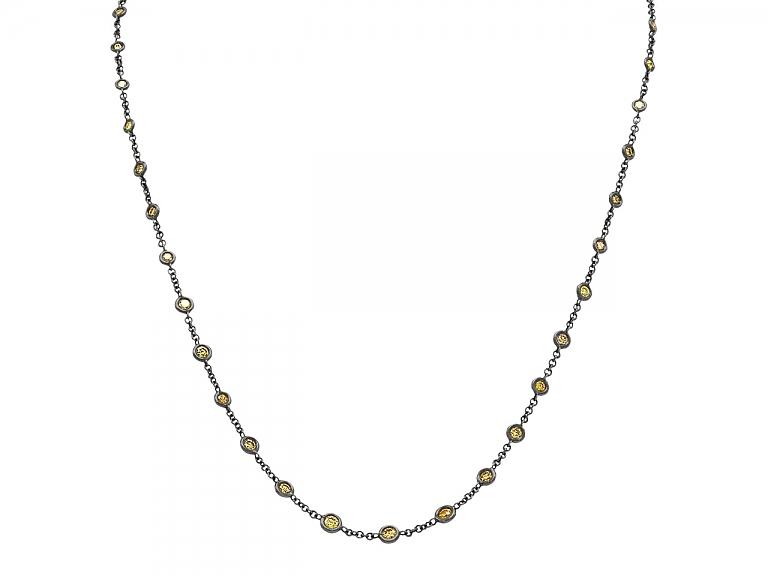 Video of Alan Friedman Yellow Diamond and Blackened 18K Gold Necklace