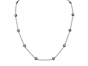 Diamond Heart Necklace in 18K Blackened Gold