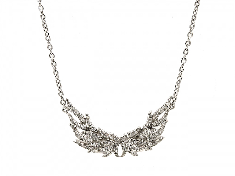 Video of Henri J. Sillam Diamond Wings Necklace in 18K White Gold