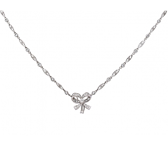 Diamond Bow Pendant Necklace in Platinum