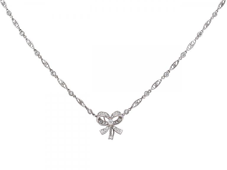 Video of Diamond Bow Pendant Necklace in Platinum