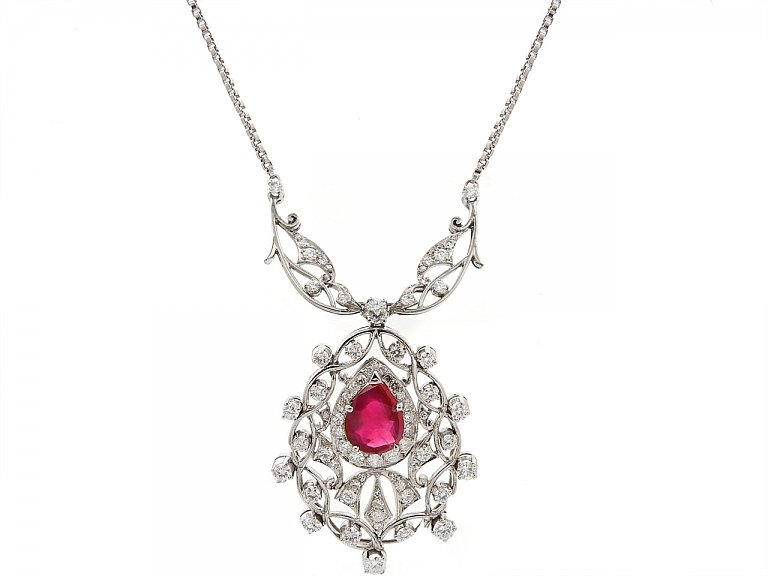 Video of Ruby and Diamond Pendant in 18K White Gold