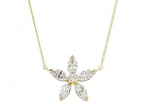 Beladora 'Bespoke' Marquise Diamond Flower Pendant in 18K Gold