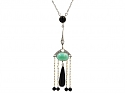 Edwardian Onyx, Turquoise and Diamond Necklace in Platinum and 18K Gold