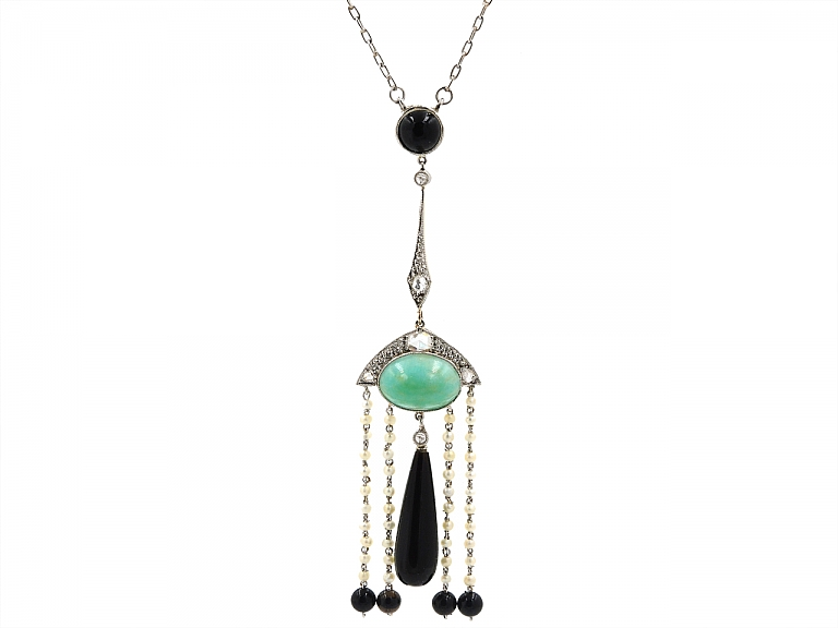 Video of Edwardian Onyx, Turquoise and Diamond Necklace in Platinum and 18K Gold