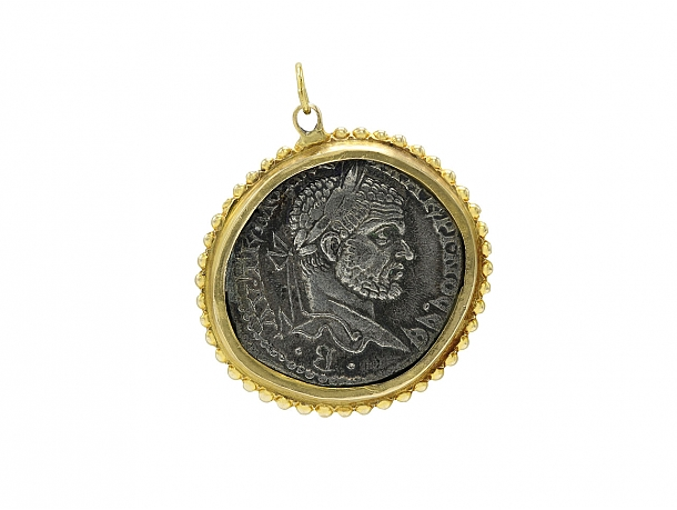 Ancient Coin Pendant in 14K Gold