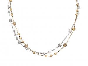 Pair of Bottega Veneta Pavé Diamond Necklaces in 18K Rose and White Gold