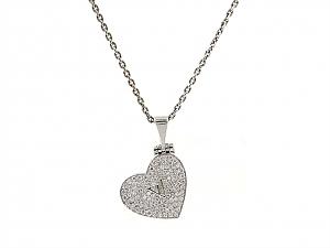 Louis Vuitton Diamond Heart Locket Necklace in 18K White Gold